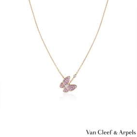 Van Cleef & Arpels Rose Gold Fauna Two Butterfly Pendant VCARO3M200